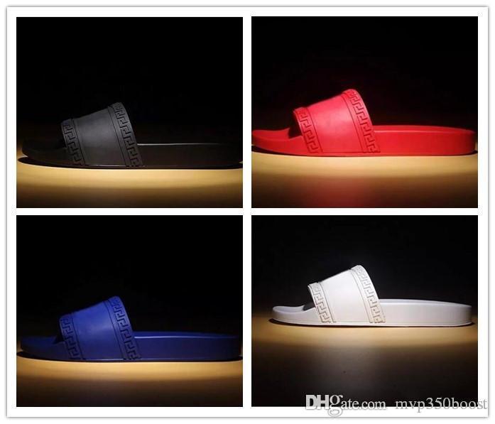 991c0d61e02 2019 NEW Europe Brand Fashion Men Striped Sandals Medusa Scuffs Causal Non  Slip Summer Slippers Flip Flops Slipper BEST QUALITY US 7 12 Womens Slippers  ...