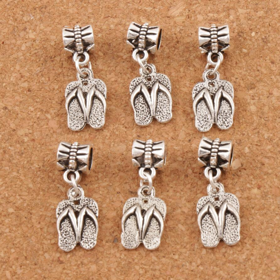 Antique Silver 9.4x32.6mm Slippers Flip Flops Big Hole Beads Charms Pendants 100pcs/lot Handmade Jewelry Fit Bracelets Necklaces accessories