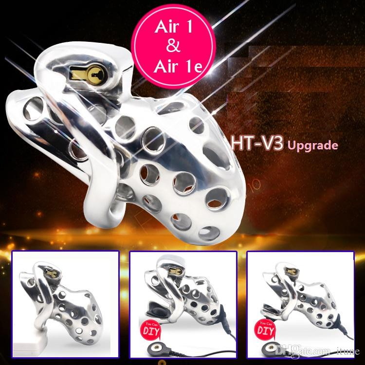 New Design Kidding Zone Air Stainless steel Male Men Chastity Cage Devices Cockcage Penis Cage with electric shock set Bondage Lock Sex Toys