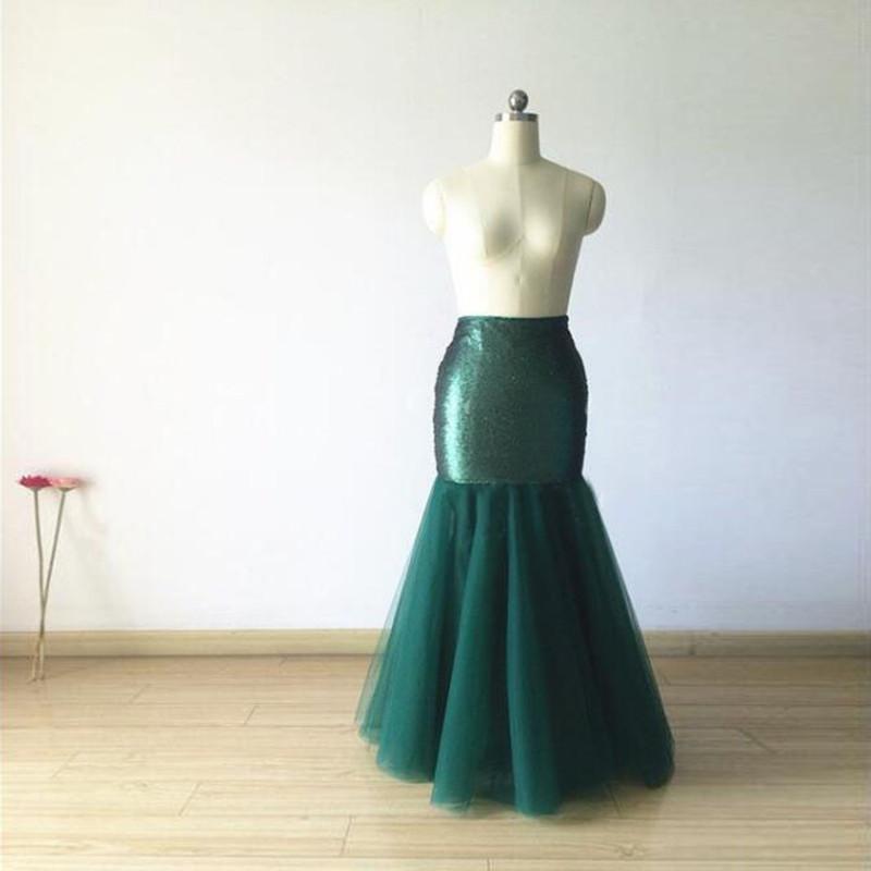983844b53 Falda de tul verde oscuro lentejuelas sirena maxi faldas largas mujer  primavera verano faldas estilo casual por encargo piso longitud faldas