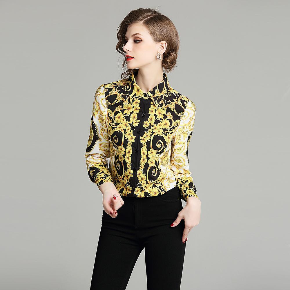 b4be9af7ee32 Блузки женские 2019 с цветочным принтом с длинным рукавом с отложным  воротником ...