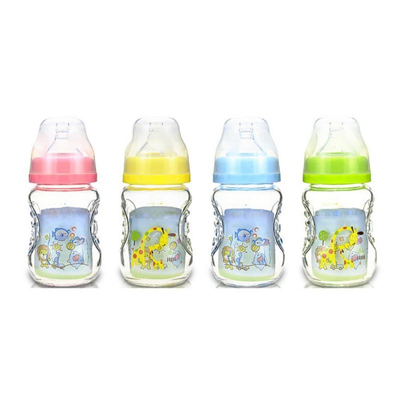 Flaschen Flaschenzuführung 2019 Neue 150 Ml Baby Cartoon Glas Milch Breiten Mund Flasche Saft Flasche Baby Trinken Baby Milch Flasche Bpa Frei