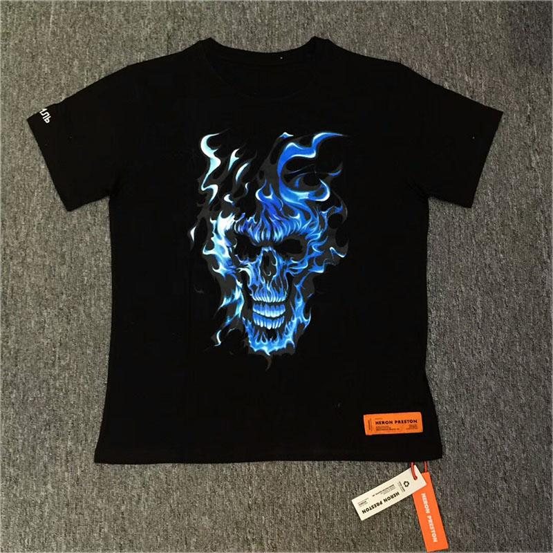 Heron Preston T Shirt 19 Summer High Quality Blue Soul Skull Heron Preston T-Shirt Streetwear Skateboar Heron Preston Top Tees