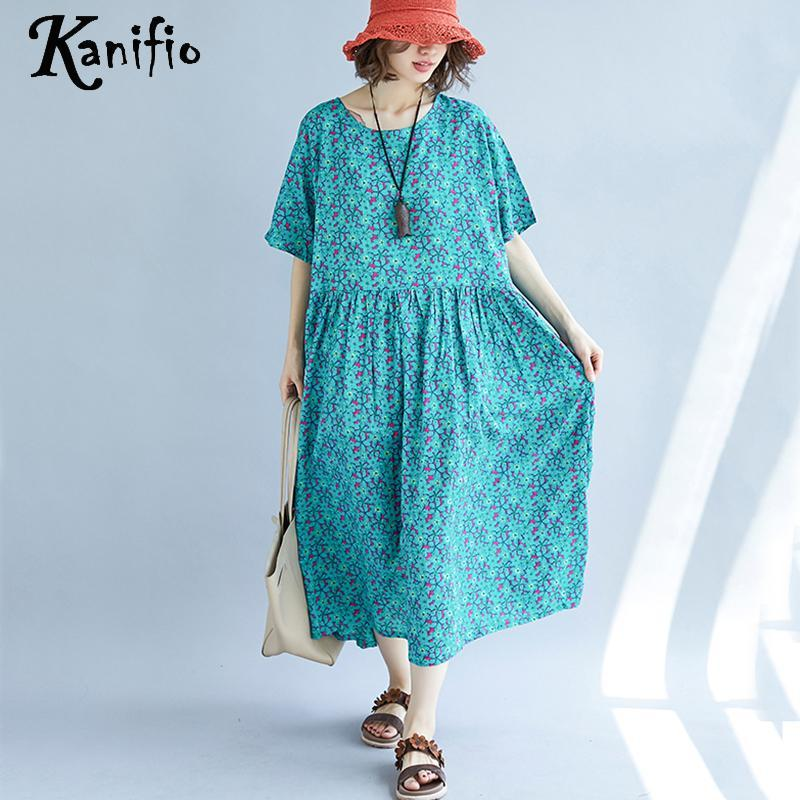 b27a4e3d184 Kanifio Plus Size Women Print Casual Loose Bohemian Maxi Long Dress Ladies  Cotton Linen Summer Beach Dresses Long Tunic Vestidio Dress In White Party  Party ...
