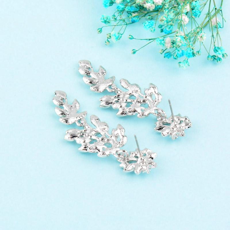 Luxury Sparkling Cubic Zirconia Hollow Leaf Drop Earrings Women Gold Silver Black Color Earring Party Jewelry ES073 SSC