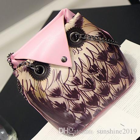 1pc 2017 Retro women owl Fox cartoon PU leather bag Cross body shoulder bags Chain handbag