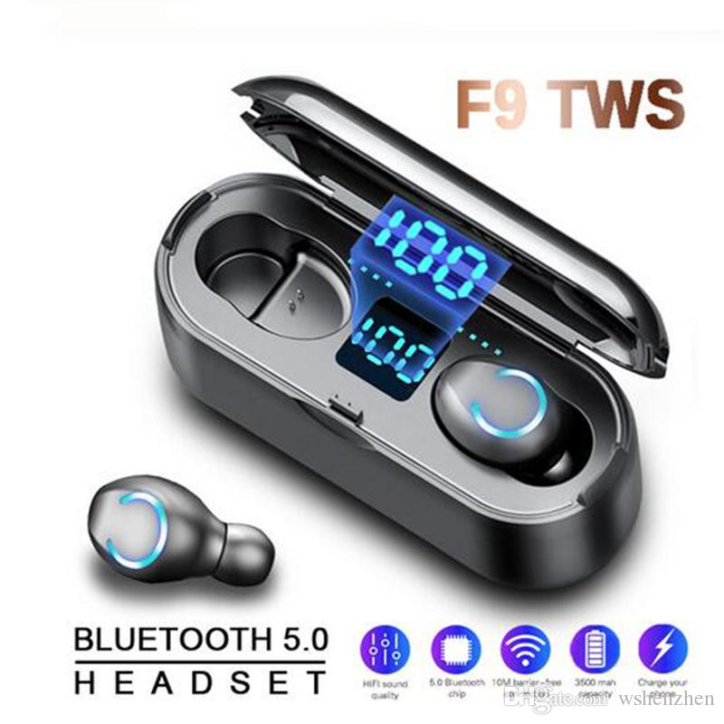 F9 TWS 2019 NEW Bluetooth Earphone Wireless Earbuds Sports Running Earphones IPX7 2000mAh Power Bank Box Charging Phone