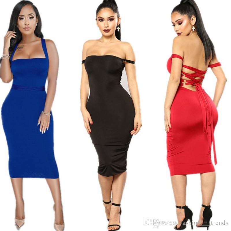 New Summer Women Bandage Sheath Dress Vestidos Verano 2018 Slash Neck  Celebrity Party Dress Sleeveless Elegant Off Shoulder Bodycon Dresses  Sleeveless Slit ... 170dc9433
