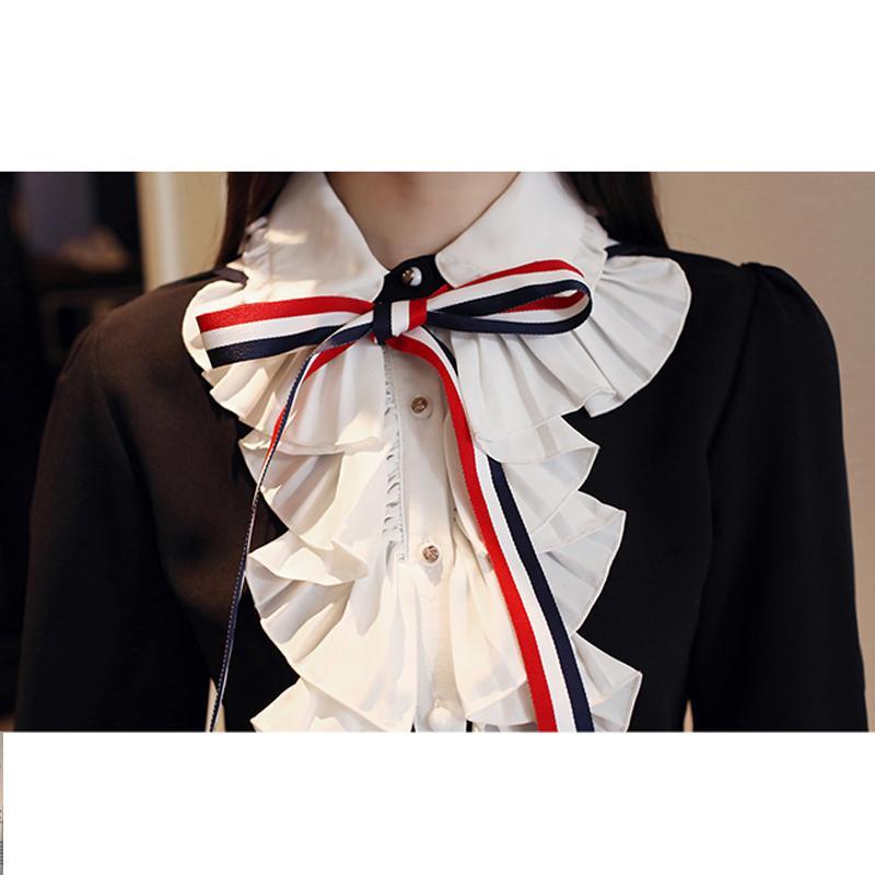 앞 나비 넥타이 블라우스 긴 소매 셔츠 턴 다운 칼라 셔츠 캐주얼 여성 부정기 블라우스 흑백 탑스 812E