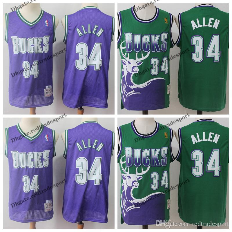 timeless design 63592 2a113 Vintage Mens #34 Milwaukee Ray Allen Bucks Basketball Jerseys Cheap Green  Purple Ray Allen Blue Bucks Stitched Shirt S-XXL