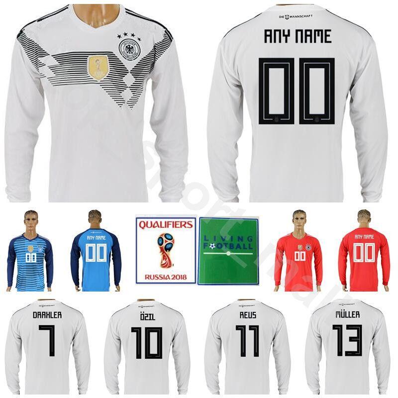 d1b82c8fe Soccer Germany Long Sleeve Jersey 2018 World Cup 10 OZIL 7 DRAXLER 13 MULLER  23 GOMEZ 11 REUS 17 BOATENG Custom Football Shirt Kits Men