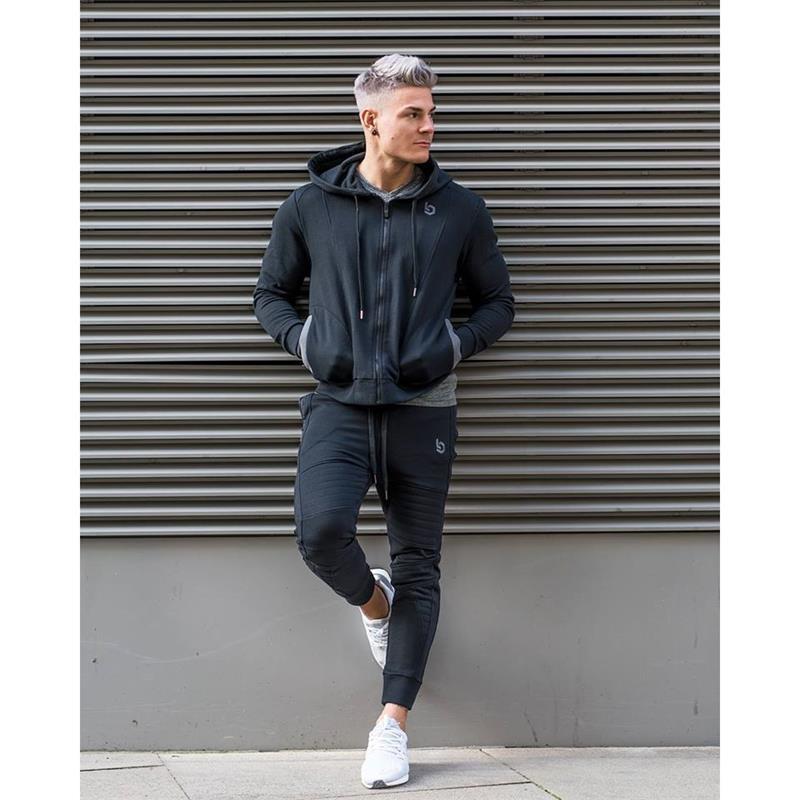 d16791bb88e3 Acquista Abbigliamento Sportivo Uomo Che Corre Tute Da Jogging Maschile  Palestra Fitness Body Building Sportwear Felpe Con Cappuccio Da Uomo +  Pantaloni ...