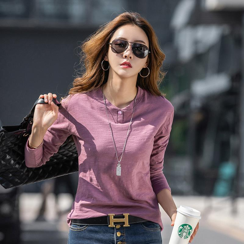 2019 Women's Wear Temperament Pure Cotton Bamboo Knot Open Cylinder Loose Long Sleeve T Shirt Woman Backing Shirt