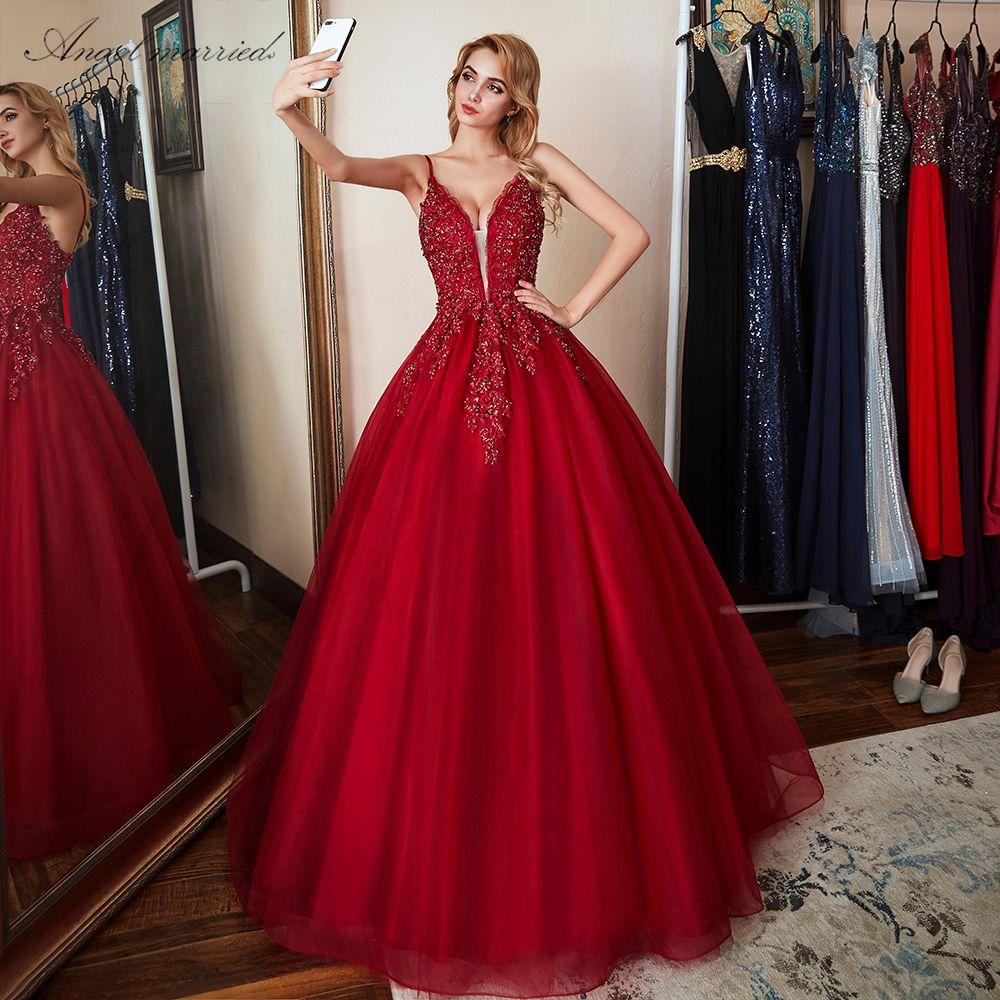 900980080b325 Angel Married Fashion Evening Dresses 2018 New Appliques Lace Prom Gowns  Beaded Women Formal Party Dress Vestido De Festa Y19042701