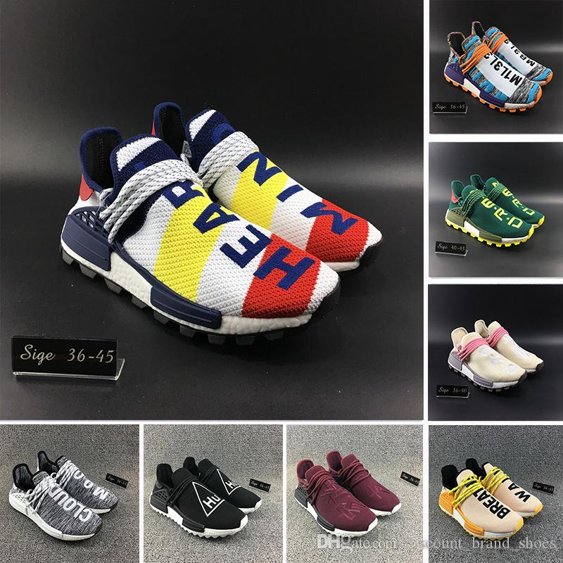 low priced 86404 4d15e Heart Mind HU TR Human Race Solar Pack Friends And Family Running Shoes  Nerd Green Core Black Pharrell Williams Mens Women Sports Sneakers