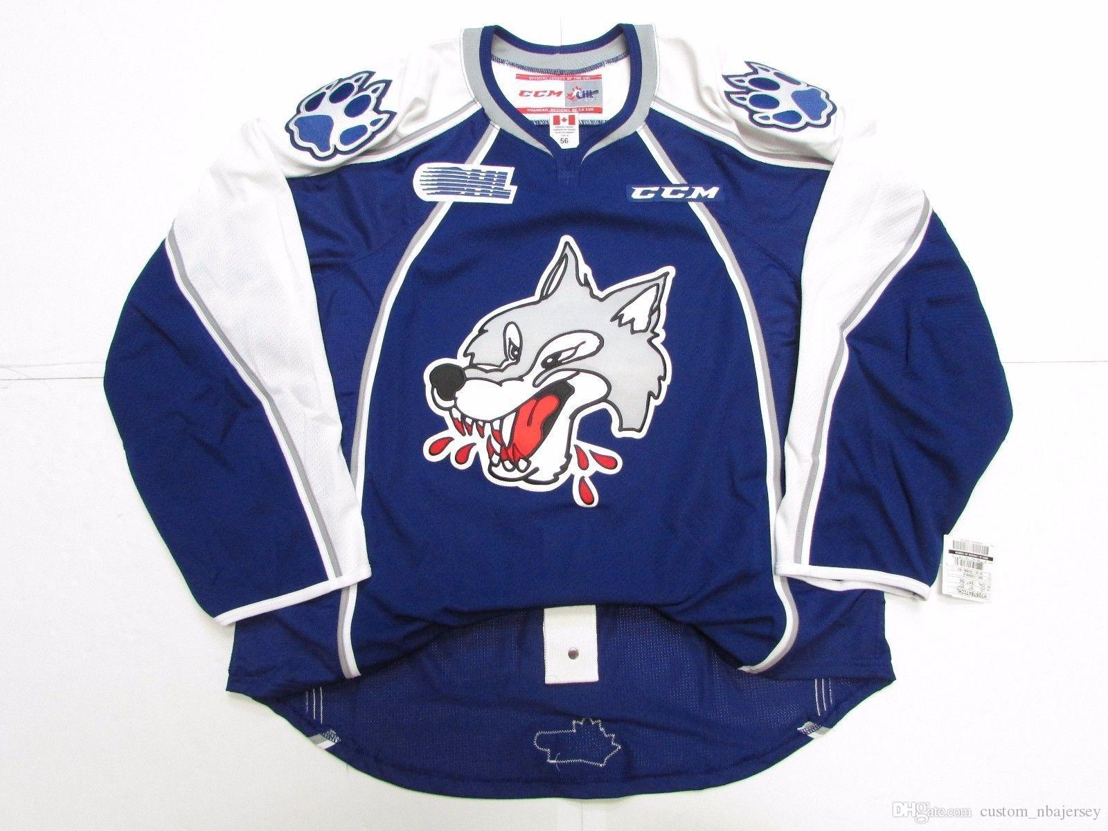 Cheap custom SUDBURY WOLVES OHL PRO CCM HOCKEY JERSEY stitch add any number any name Mens Hockey Jersey XS-5XL