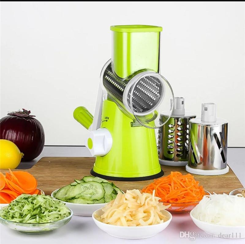 Multi-function vegetable shredder hand-cranked cheese cutter stainless steel drums slicer vegetable cutter chopper grater slicer
