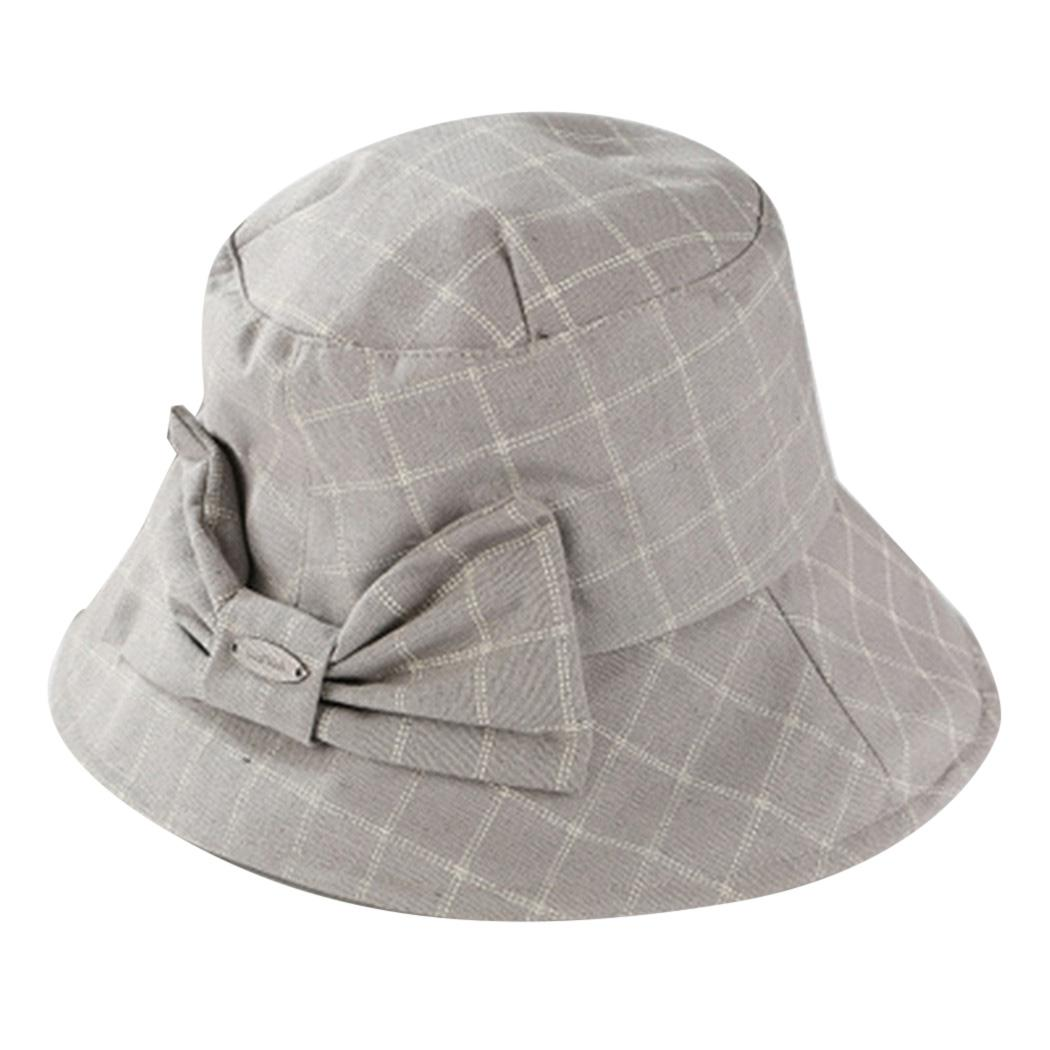 Cute Plaid Bow Bucket Hat Summer Autumn Fashion Solid Color Caps Elegant  Women Folding Fishing Cap Casual Outdoor Fisherman Hats Flat Bill Hats  Beach Hat ... a129493e63d
