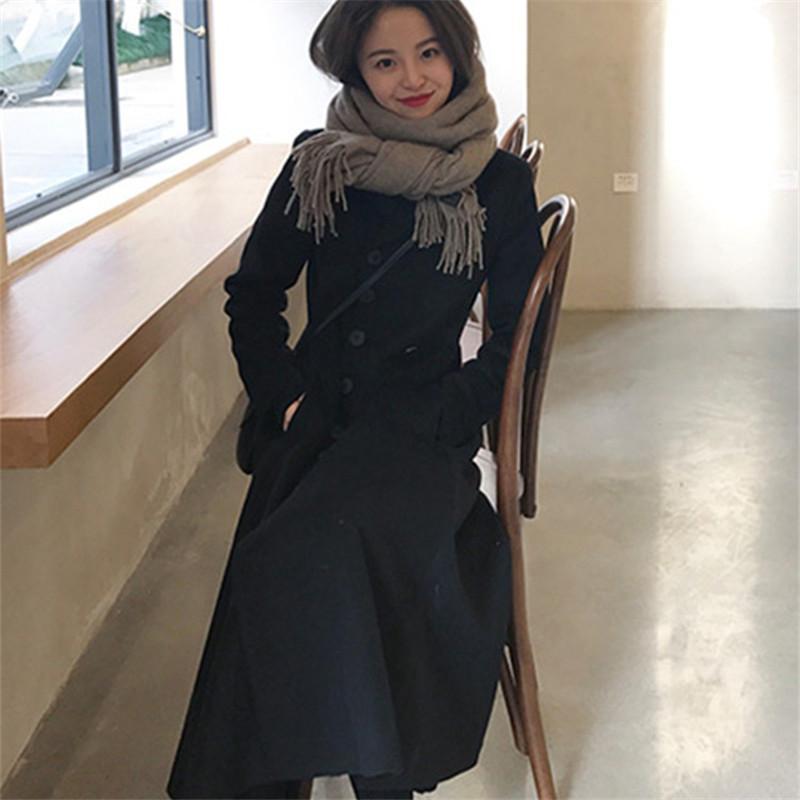 43c7dfffdec 2019 Oversize Korean Style Long Wool Coat Black Elegant Women Plus Size  Fashion Winter Female Coats 2019 From Jerkin
