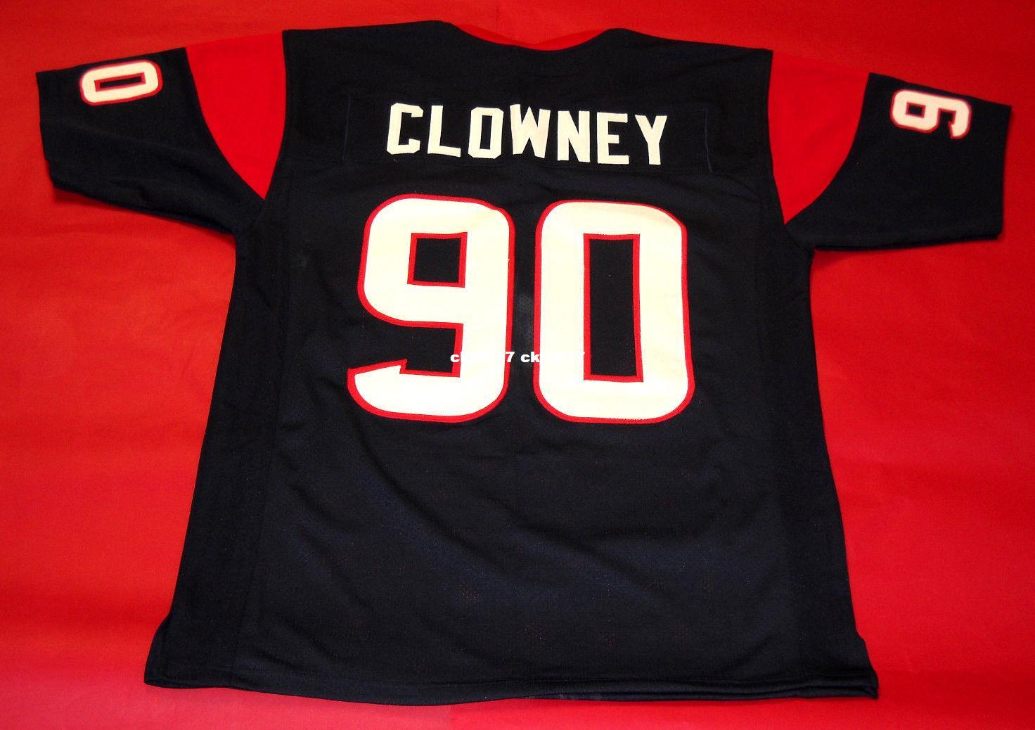 Cheap retro #90 JADEVEON CLOWNEY CUSTOM MITCHELL & NESS Jersey bule Mens Stitching High-end Size S-5XL Football Jerseys College NCAA