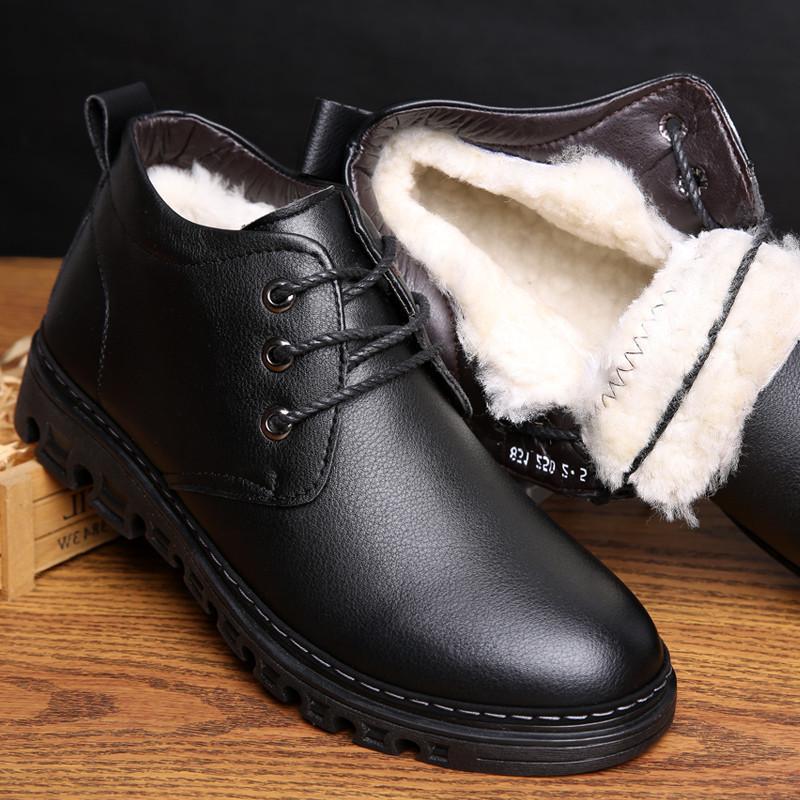 Neige Habillées Qualité Cuir De D'hiver Véritable Bottes Homme Bottines Haute Laine Doux Inner Hommes En Chaussures VUzpSM