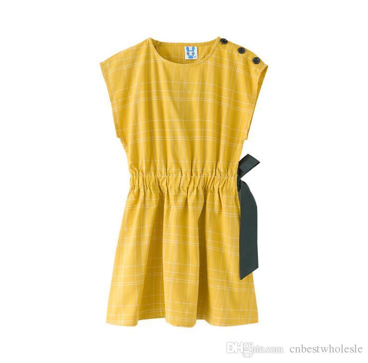 592323d306b 2019 2019 Big Girl Plaid Cotton Dress Teenager Summer Fashion Bow  Sleeveless Dress Junior Casual Beach Dress Kids Clothing From Cnbestwholesle