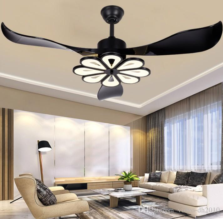 Ceiling Fans Fashion Style New Arrival Pendant Light With Fans Black White Combo Fan Leaf Restaurant Living Room Bedroom Ceiling Mounted 3 Leaf Fans Light Complete In Specifications Lights & Lighting
