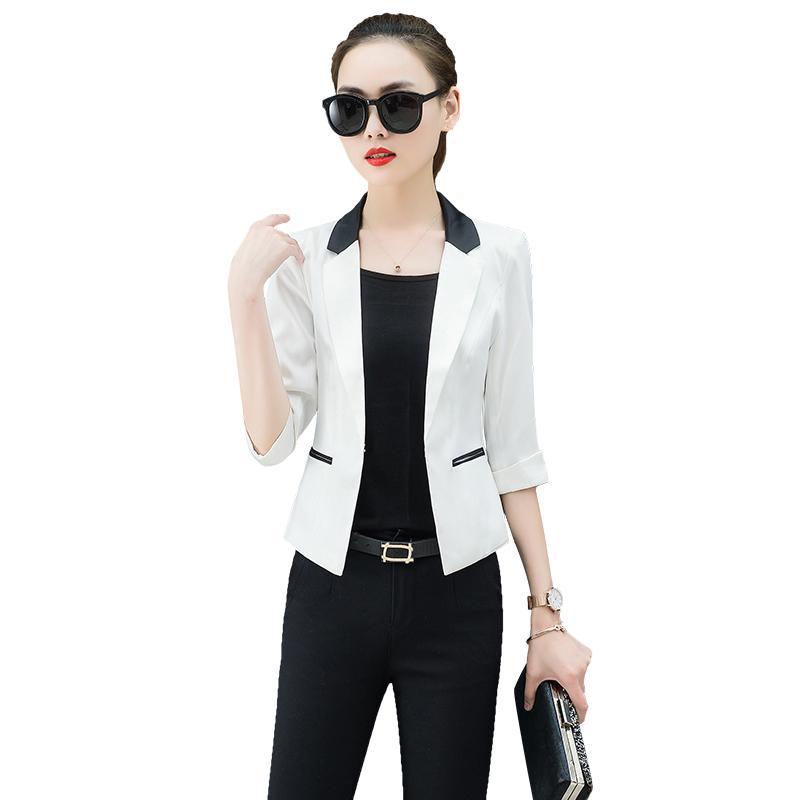 Chaqueta 2019 Spring para mujer, manga tres cuartos, color azul blazer  delgado, abrigo corto, blazers blancos y chaquetas, ropa de trabajo.