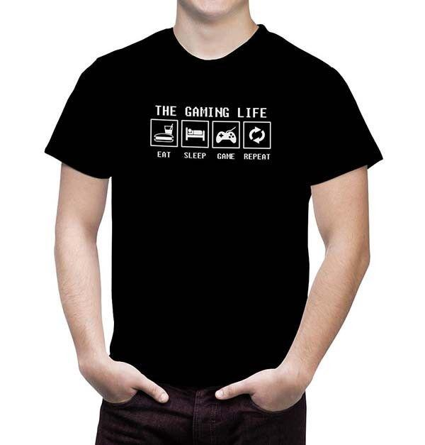 0a22f0576b1 Eat Sleep Game Repeat Men S Video Game T Shirt Life Of A Gamer Playstaion  XBOX T Shirts Awesome Funny Printed Shirts From Mentality80