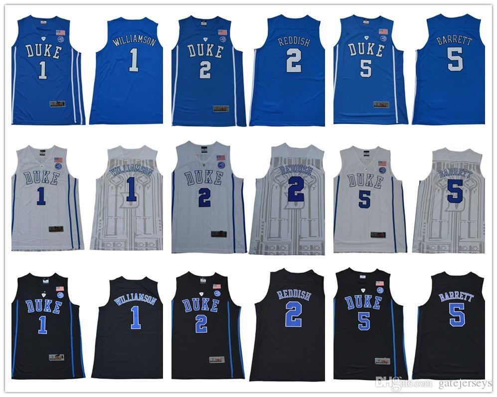 92f6139190c2 2019 NCAA Duke Blue Devils  1 Zion Williamson  5 RJ Barrett 2 Reddish 35  Bagley 2018 Round Collar Royal Black White College Basketball Jerseys From  ...