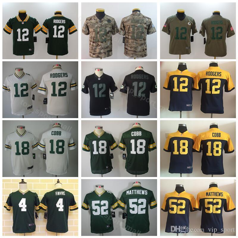 Youth Green Bay Packers Jerseys Kids Football 12 Aaron Rodgers 52 Clay  Matthews 4 Brett Favre 18 Randall Cobb Children Green White Blue UK 2019  From ... 042a46b2e