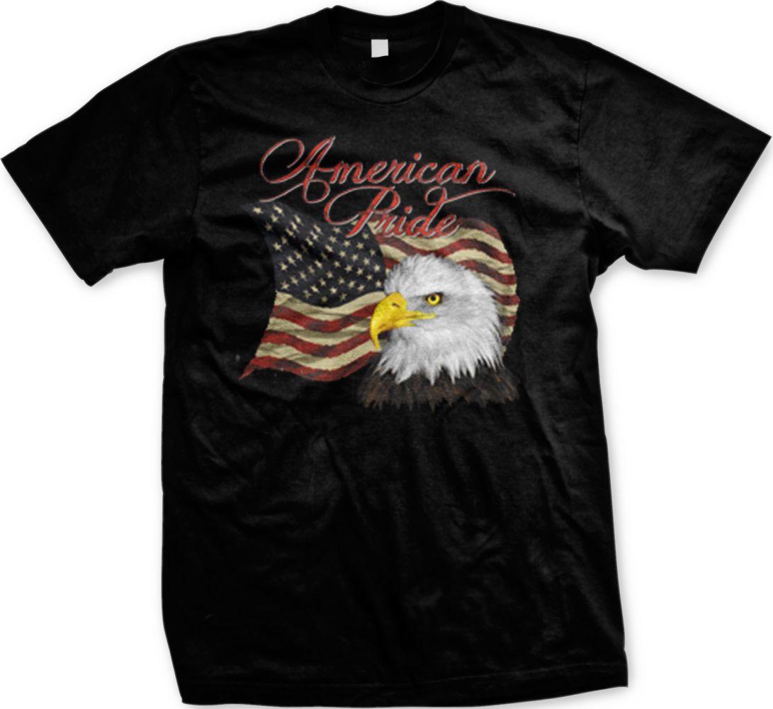 6bcd978f American Pride Flag Bald Eagle America USA United States Mens T-shirt Tees  Custom Jersey t shirt