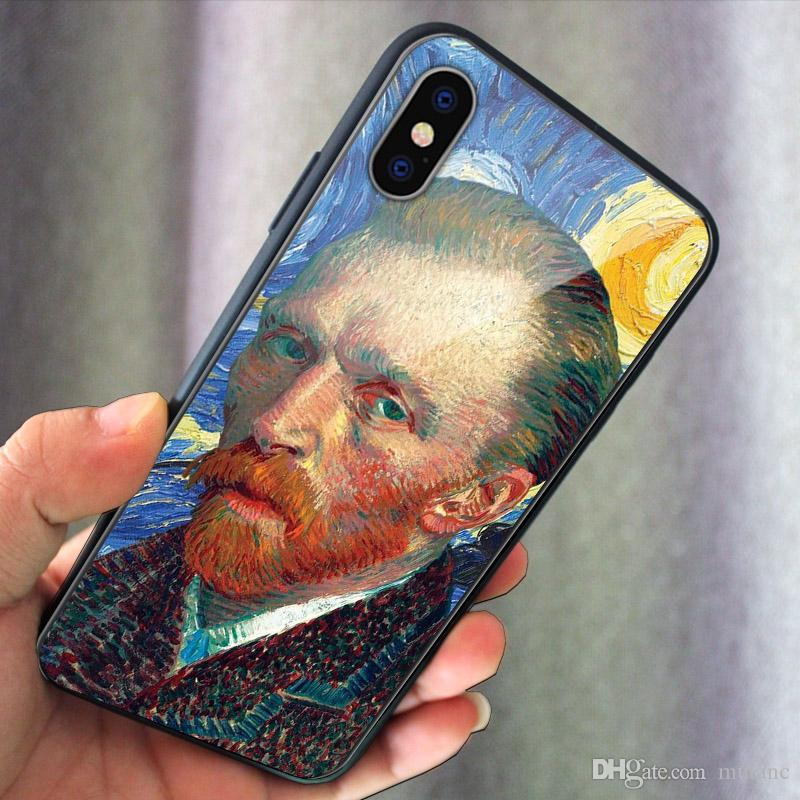 Famous Painting Design phone case Glass Cover for Samsung Note9 Note10+ S9 s10 S10e plus iphone XS 7 8 11pro Max XR