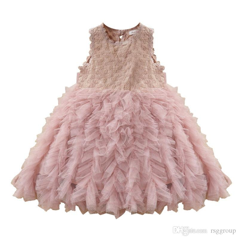 INS Girls Princess Sleevelss Dresses Summer Little Girls Back Button Blank Ball Gown Tutu Ruffles Lace Collar A-line Princess Girls Dresses