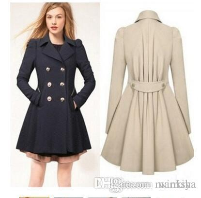 Plus Size Spring Autumn Fashion Women Trench Pleated A-Line Slim Coat Solid Turn-Down Collar Office Wear Ladies' Coats