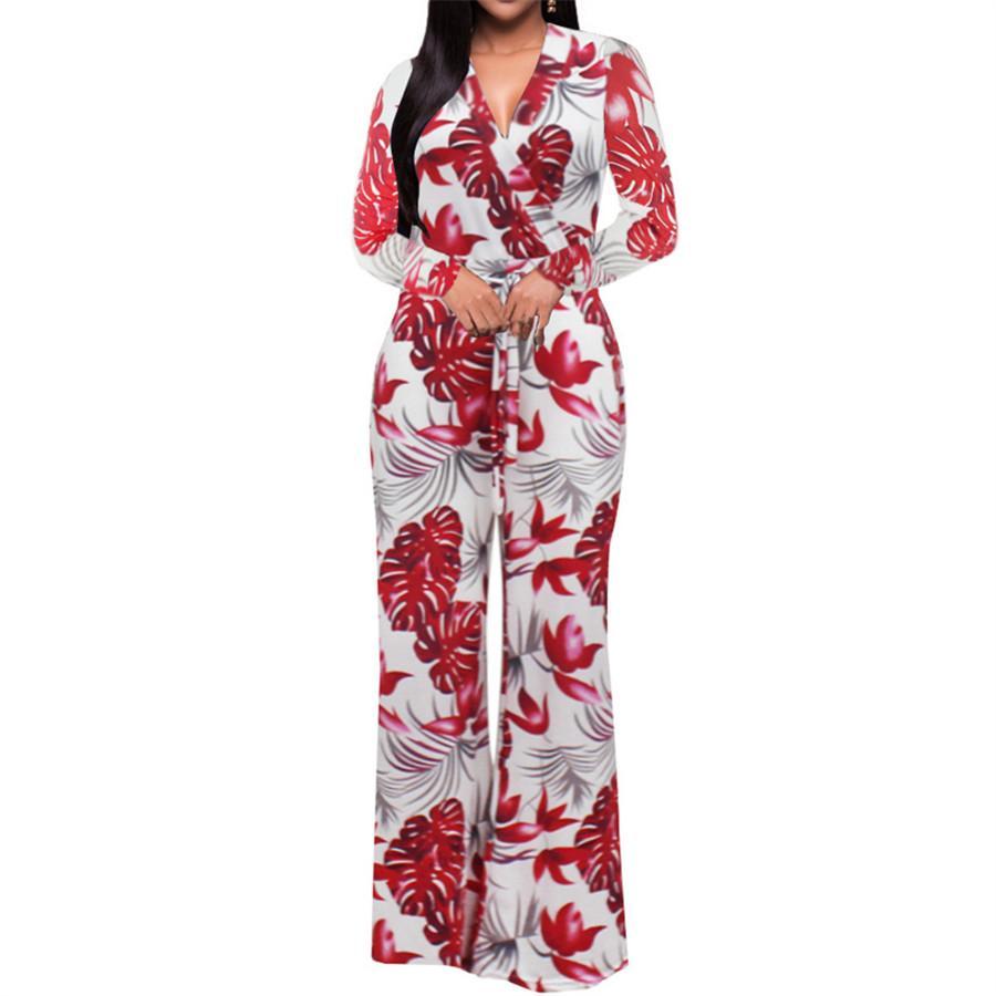 Acquista 2019 Womens Tuta Estate Moda Manica Lunga Maxi Tuta Profonda  Scollo A V Cintura Con Cintura Gamba Larga Tuta Pantaloni Lunghi Eleganti  Tute A ... 03aa0f858ed
