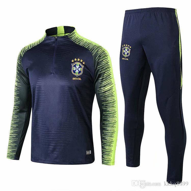 AAA+ 2018 World Cup National Brazil Long Sleeve Training Suit Soccer ... ba4b2b70b
