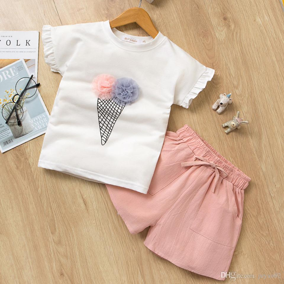 2263cfd1b16e Summer Baby Girls Clothing 2pcs Sets Ice Cream Print T-shirt + Shorts Suit Baby  Girl Clothes Kids Clothes