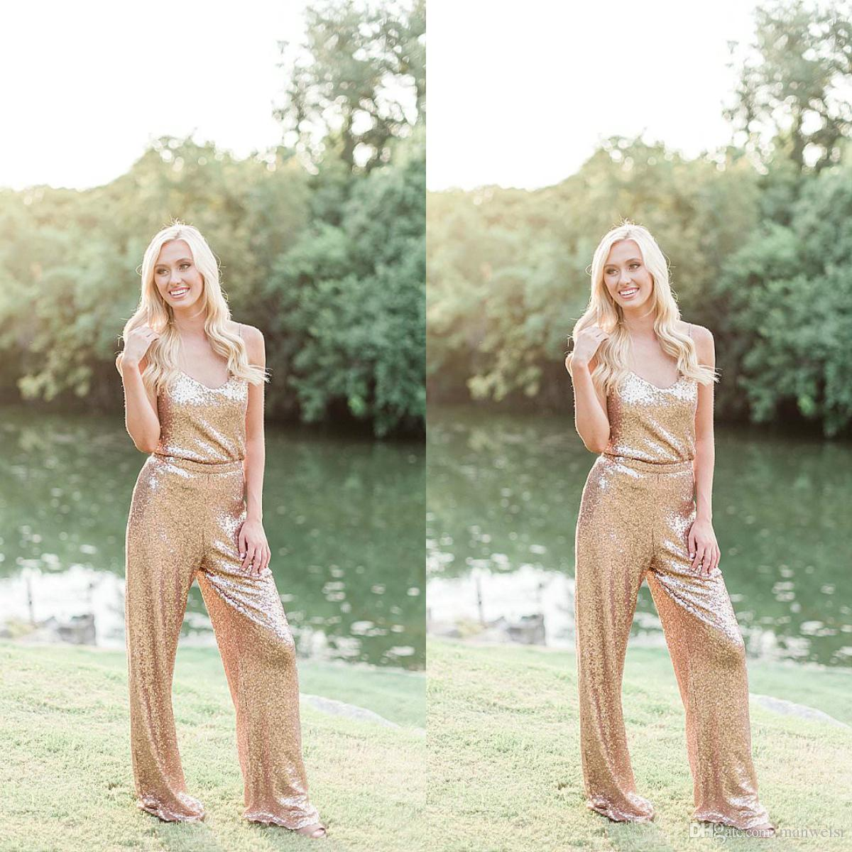 Gold Sequined Jumpsuits Bridesmaid Dresses Scoop Neck Long Wedding Guest Dress Floor Length Plus Size Maid Of Honor Gowns