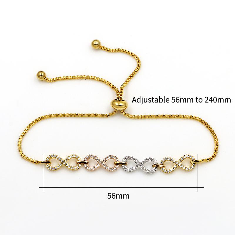 WEIMANJINGDIAN Marca Cubic Zirconia Cristal CZ Infinito Bolo Pulseiras Ajustáveis para As Mulheres ou Casamento em Prata / Cores de Ouro