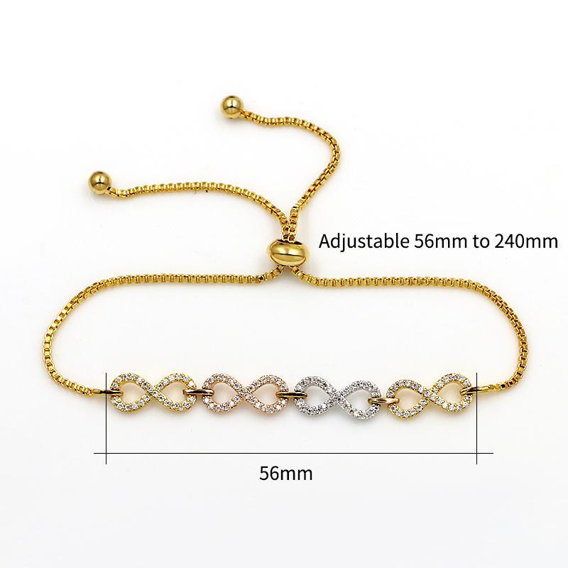WEIMANJINGDIAN Marca Cubic Zirconia Crystal CZ Infinity Pulseras de Bolo ajustables para mujeres o bodas en plata / oro Colores