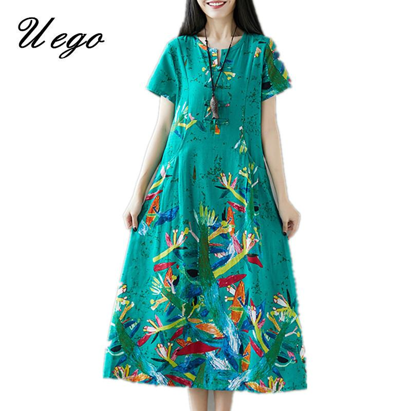 e8d332a977 Uego Cotton Linen Loose Summer Dress Fashion Printing Floral Chinese Style  Dress 2019 New Arrival Women Casual Midi Dress Y19042401