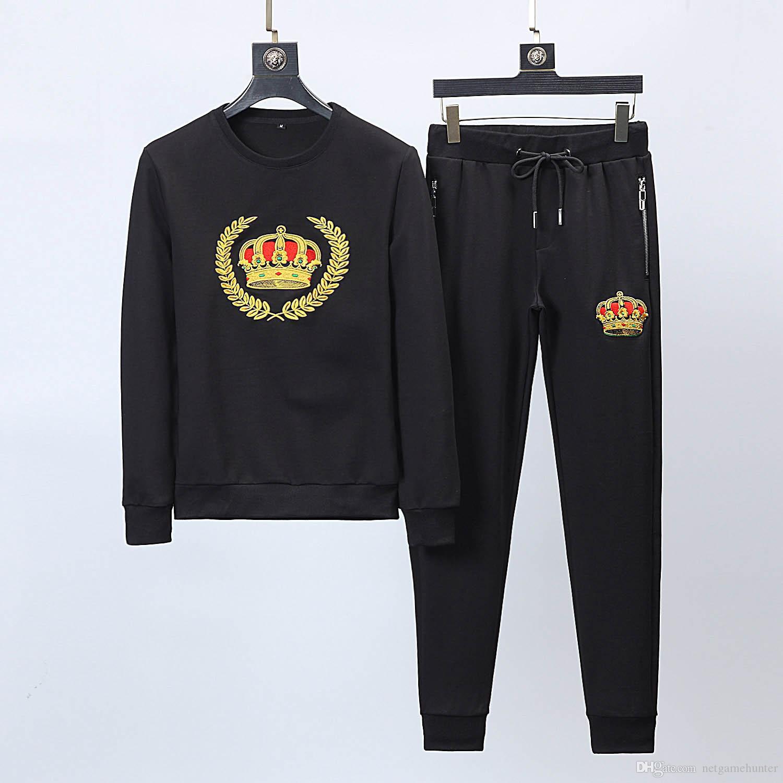 ... Hombre De Otoño 2019LG Marca 2 Piezas Conjunto Personalidad Negra  Estampado Fitness Sudadera Con Capucha De Manga Larga Pantalones Hombre  Casual Chándal ... 817c9ef5dd719