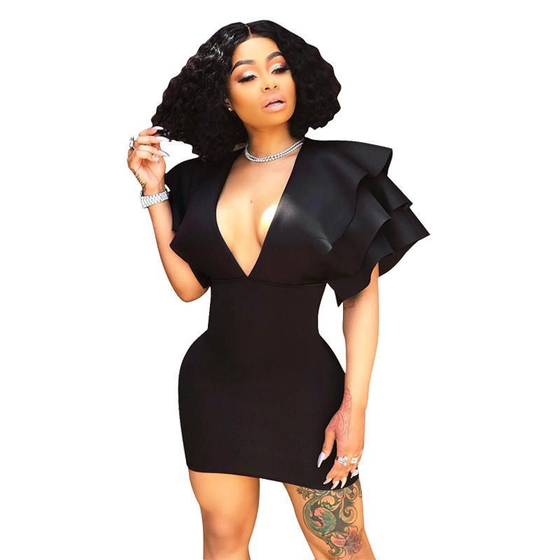 064e5895d9f 2019 Layered Flounce Sexy Little Black Dress Women Deep V Neck Plus Size  Bodycon Party Dresses Elegant Short Sleeve Mini Club Dresses From Lin_04,  ...
