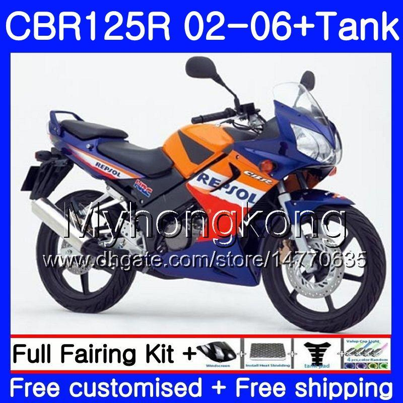 Body +Tank For HONDA CBR-125R CBR125R 2002 2003 2004 2005 2006 272HM.32 CBR 125CC 125 R 125R CBR125RR Repsol blue 02 03 04 05 06 Fairings