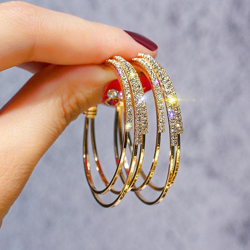 48c70ed2177e USTAR Cristales Pendientes de Aro Redondo para Las Mujeres Pendientes de  Joyería de Moda Moderna mujer Color dorado Geométrica colgante oorbellen ...