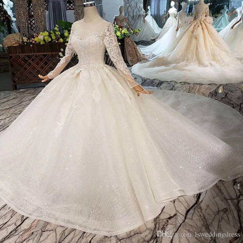 5f0e0578a1d0 ... Wedding Dresses Illusion O Neck Long Tulle Sleeve Wedding Gowns Lace Up  Back Exquisite Applique Bridal Gowns Wedding Dresses Style Beautiful Ball  Gown ...