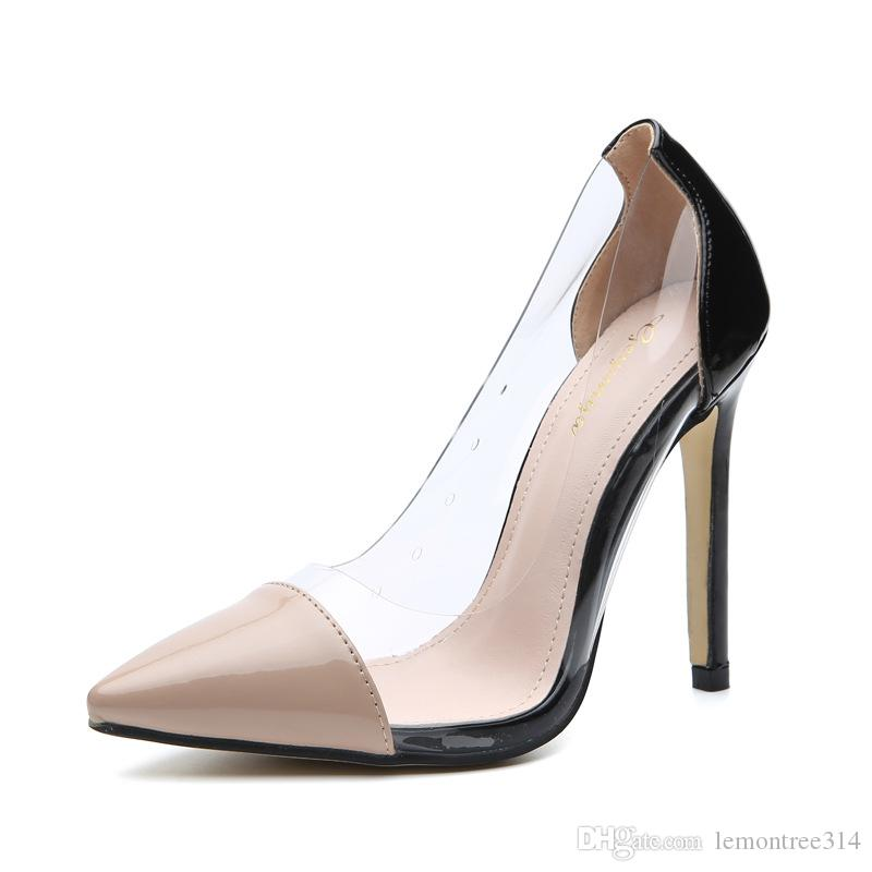 39df813175b Women Sexy Clear High Heels Pointed Toe Dress Shoes Lady Slip On ...