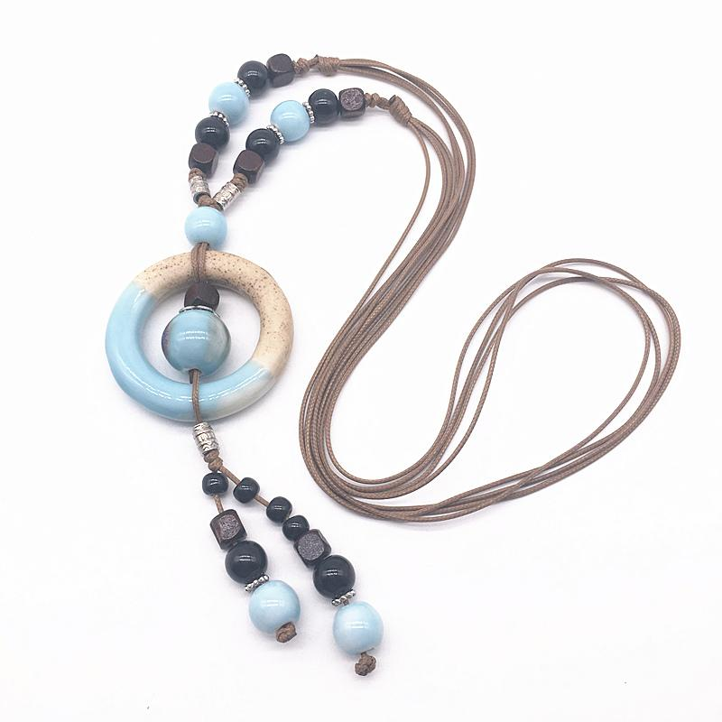 Fashion Ceramics  Pendant Bohemia Style Long Sweater Chain Necklace Handmade Braided Jingdezhen Ceramic Jewelry Necklace #G