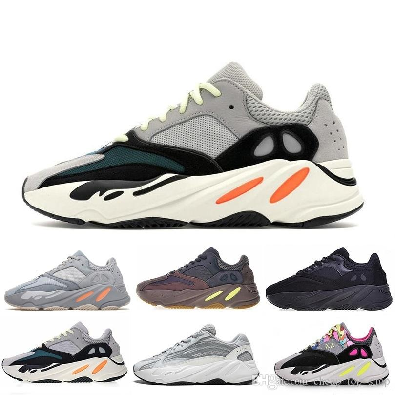 Adidas yeezy boost 2019 Kanye 700 Wave Runner Mauve Inertia Geode Casual Chaussures Hommes Femmes West 700 designers Chaussures Hommes Avec La Taille